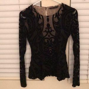 BCBG lace velvet top